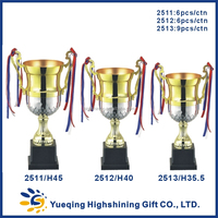Custom plastic trophy base silver and gold award badminton trophy golden souvenir 2511 China metal champions league cup trophy