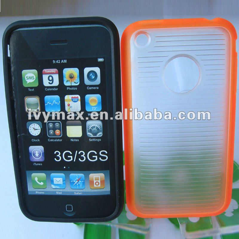 Hot orange clear soft TPU+PC hybrid cover case for iphone 3G 3GS case new