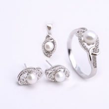 platinum plated pearl jewelry sets mountings bezel setting silver 925 jewelry set for ladies gift items