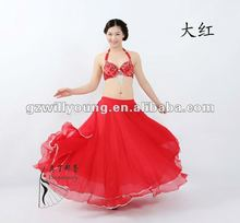 2012 fashion red belly dancing skirt, Hot selling belly dance skirts,Willyang
