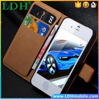 For iPhone 4S Mobile Phone Cases Brown Retro Real Genuine Leather Flip Case For Apple iPhone 4 4S 4G Card Slot Wallet Cover i4