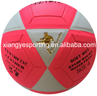 fluorescence pink PVC laminated petola futbol/ soccer ball/football
