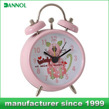 kid gift clock cheap table pink alarm twin bell clock