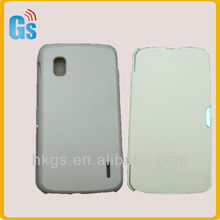Screen Protector Slim Side Back Battery Flip Cover PU Leather Housing Case for LG Google Nexus 4 E960