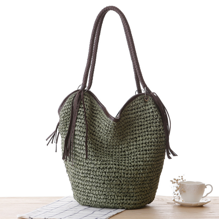 Summer natural straw bag Hobo beach bags women shopping bag grass Handbag