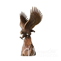 Arts and Crafts eagle diving brass sculpture