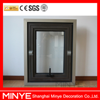Modern design french style aluminum center pivoted double glazed window for sale