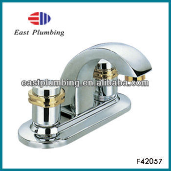 F42057 American style UPC Eastplumbing F42057 Brushed Nickel Two-Handle Low Arc Bathroom Faucet