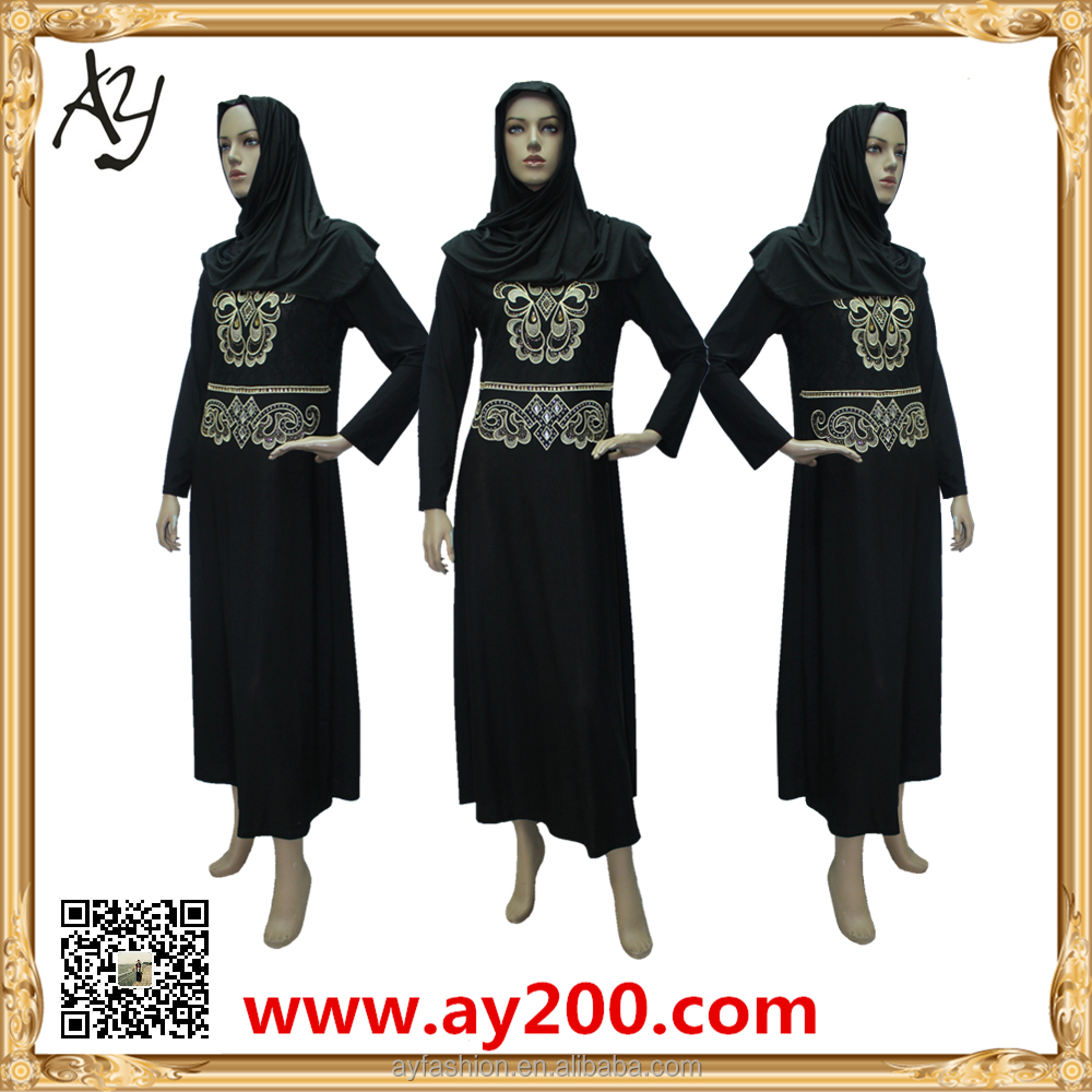 Embroidered Long Sleeve Arabic Black Abaya Online Shopping