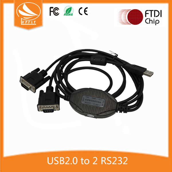 High Speed FTDI Chip USB 2.0 to 2 Serial Port RS232 Hub Cable