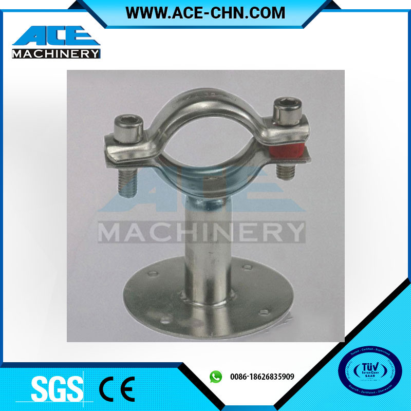 Sanitary Stainless Steel Pipe Hanger Tube Holder With Circular Base