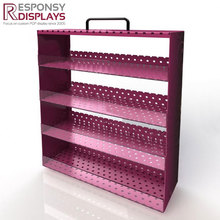 Shopping mall custom metal counter grid cosmetic shelf case