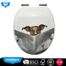 "Hot sale dog paper 18"" european printed family toilet seat"
