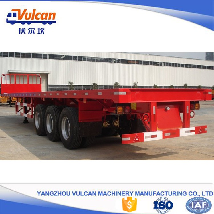 3 axle container flatbed drop deck over semi trailer for sale