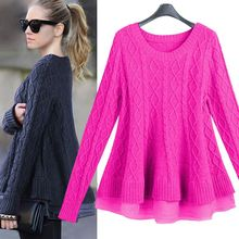 women top European Grand Prix 2014 new winter Cable Knit fight organza skirt sweater hedging 3648 women blouse