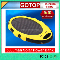 New waterproof solar power bank 5000mah outdoor solar power battery charger 2 USB ports with LED Torch cheap promotional gift