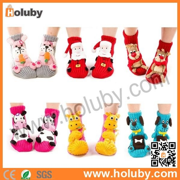 2014 Cute 3D Christmas Weave Socks, Christmas Gift Skidproof Warm Cartoon Needle Socks