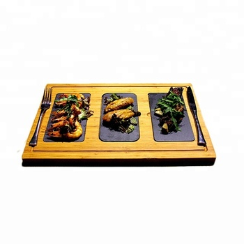 2018 Newest Creative Wooden Slate Placemat Customized Eco-friendly Slate Steak Board