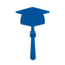 Cheap Promotional Cheering Noise Maker Plastic Blue Graduation Mortar Board Hand Clappers with Custom Graduation Cap Shaped