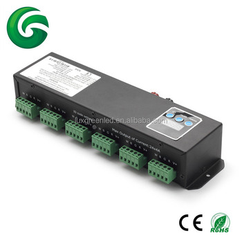 24 channel dmx decoder with RJ45 interface for RGB/RGBW led lamps