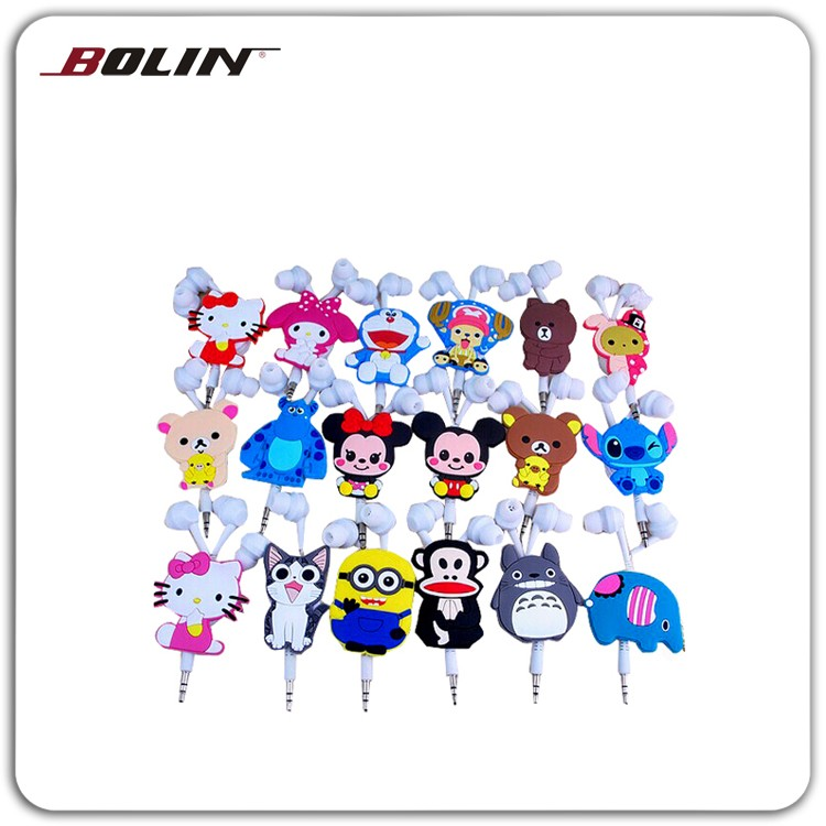 Retractable cartoon in-ear earphone sale promotion retractable earphone cute ear buds MP3 player earphone