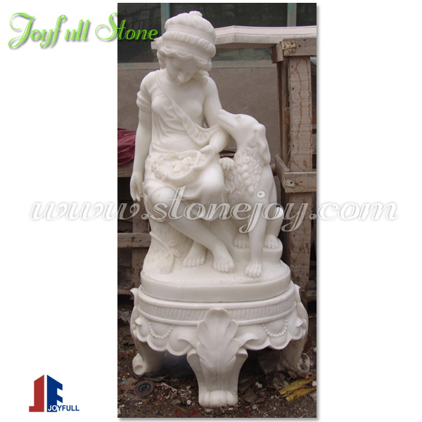 Snow White Garden Girl Statue with dog