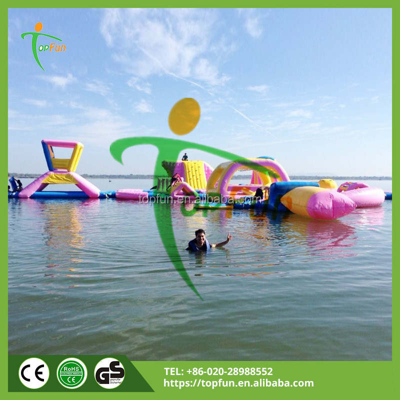 Amusement floating Inflatable fun water island for sale