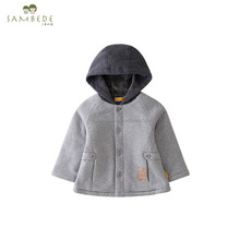 SAMBEDE 100% Cotton Hooded Jacket Baby Boy Winter Coat Kids Clothing SM6D5694