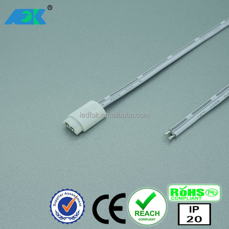 LED solderfree 2 pin connector for LED strips 8mm; Clip + cable + DC jack 5.5 / 2.1mm