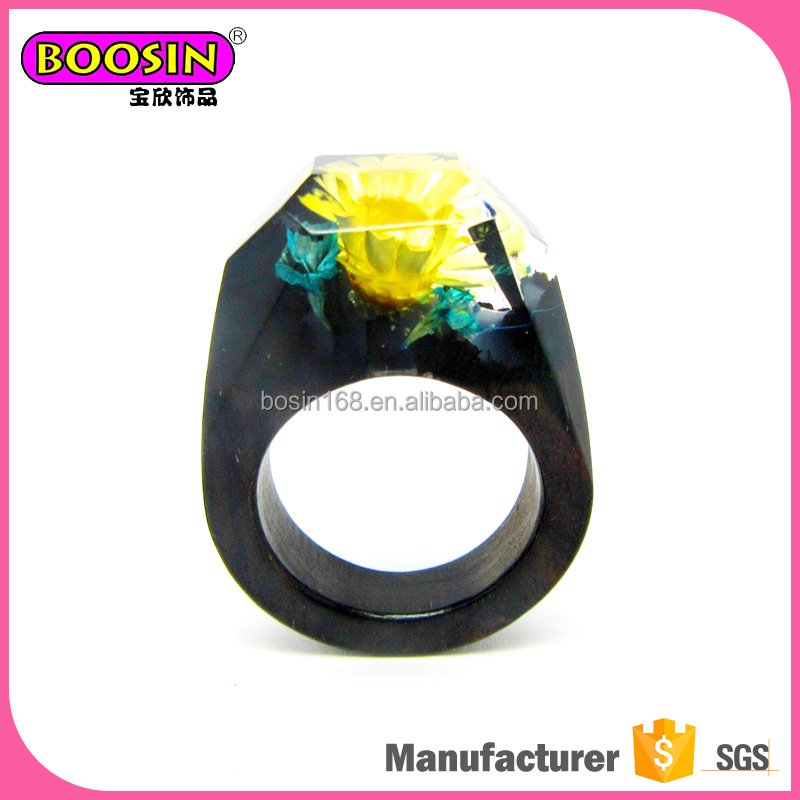 attractive handmade wholesale nature wood resin rings