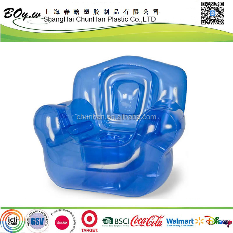 factory OEM heavy duty promotional comfortable air furniture blue single pvc inflatable transparent sofa