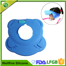 Velcro Adjustabe Safe Customized Shower Cap For Baby, Children Shampoo Silicone Hat