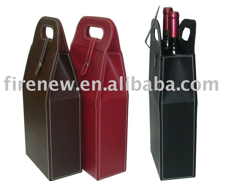 Protable fake leather wine carrier