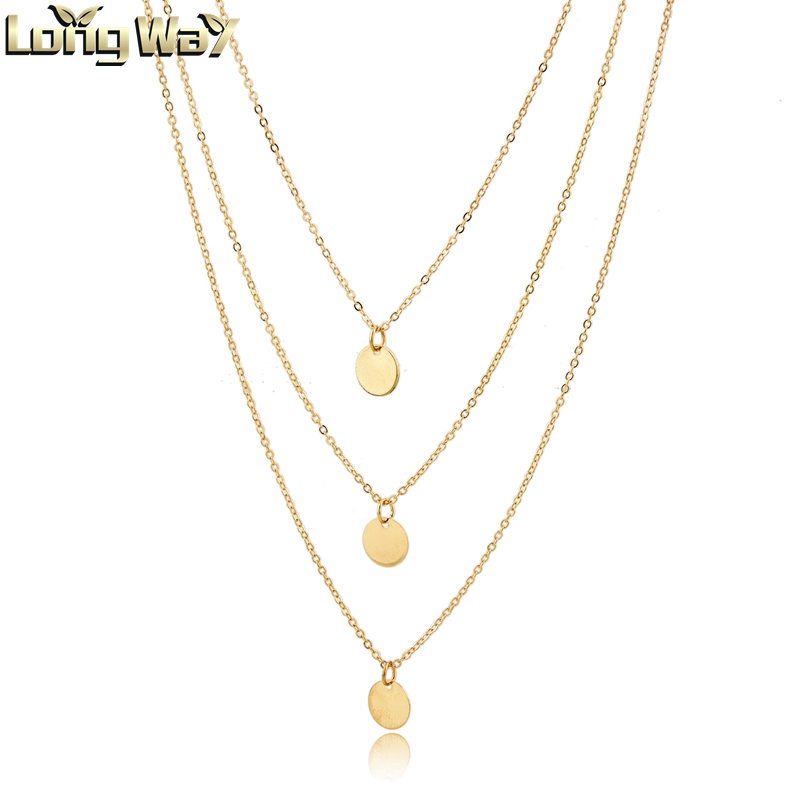 Simple Minimalist 3 Layers <strong>Necklaces</strong> with Round Metal Sequins Pendants