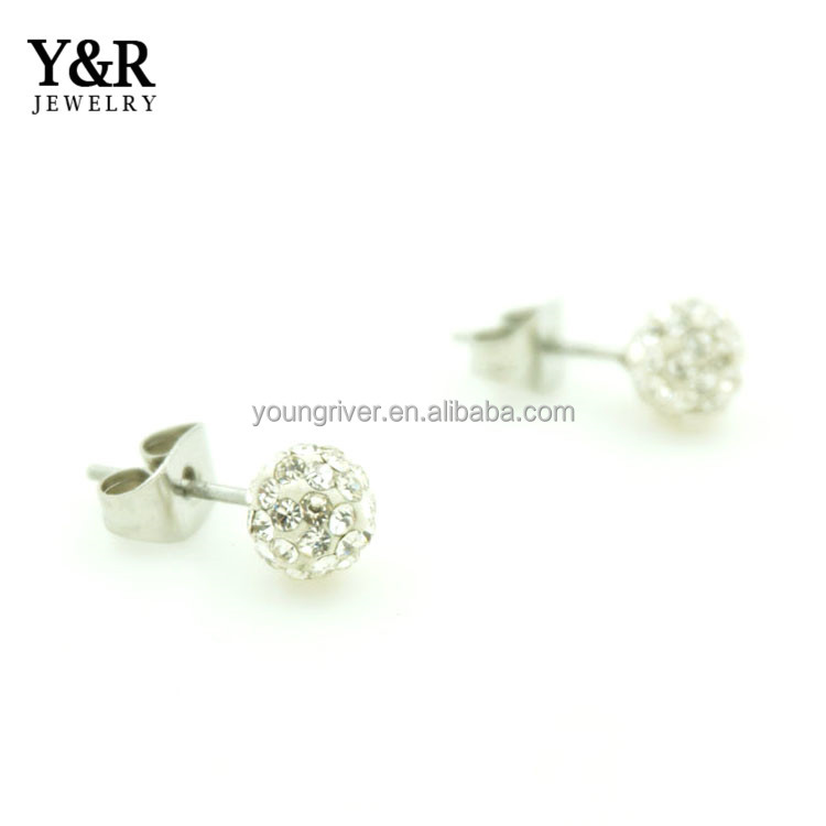 Custom Silver Hydrangea Flower Rhinestone Beautiful Earring