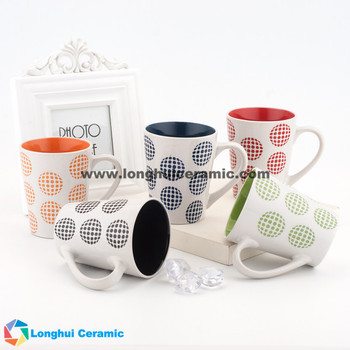 Inside color outside whtie ceramic coffee mug with color point circle painted