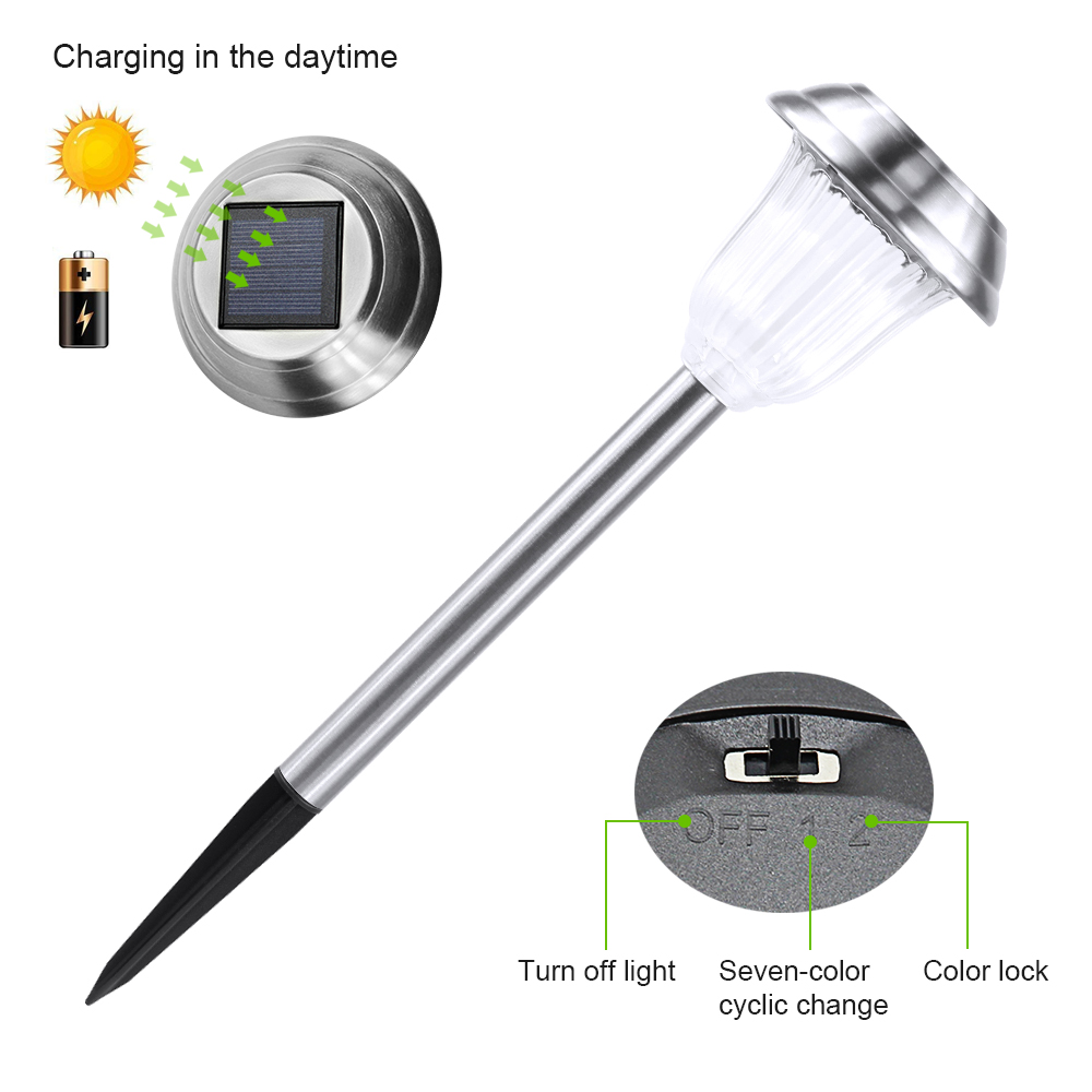 Stainless solar lawn lamp with RGB Outdoor Waterproof