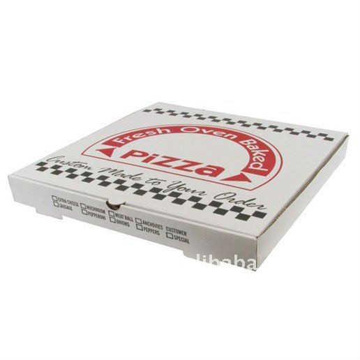 White kraft paper packaging for pizza box