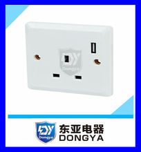 British model one way wall socket with USB socket