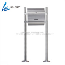 Garden standing stainless steel mailbox with lock and house number waterproof wall mounted letter box