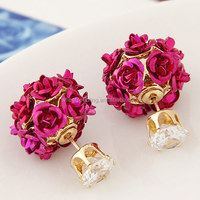 Double Side Rose Flower Stud Earring Fashion Brand Party Jewelry Gold Filled Crystal Earrings For Women