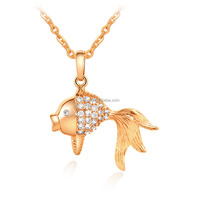 Fashion zircon goldfish 24k gold plated jewellery wholesale D0663