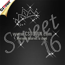Wholesale pure crystal hotfix design sweet 16 crown rhinestone transfer crown