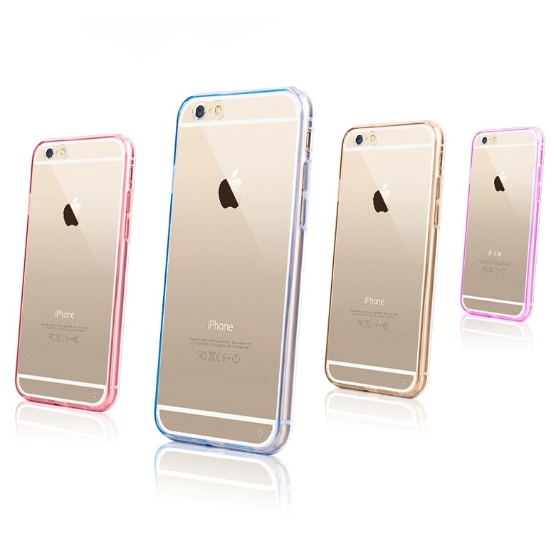 Colorful PC+TPU protective Cover soft Ultra-slim transparent PC back TPU side case for iPhone 6/6S, cover for iphone 6plus