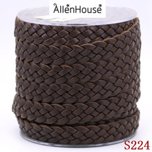 Fashion brown 18mm wide Plain Braided Leather Cord Bolo Thread Lace for DIY Mens Jewelry Making