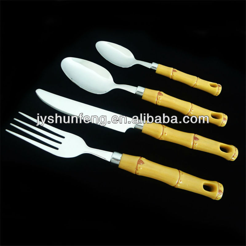 16pcs stainless steel bamboo design plastic handle cutlery