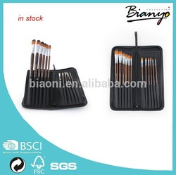 hot sale paint brush professional synthetic nylon hair paint brush set with black canvas bag package