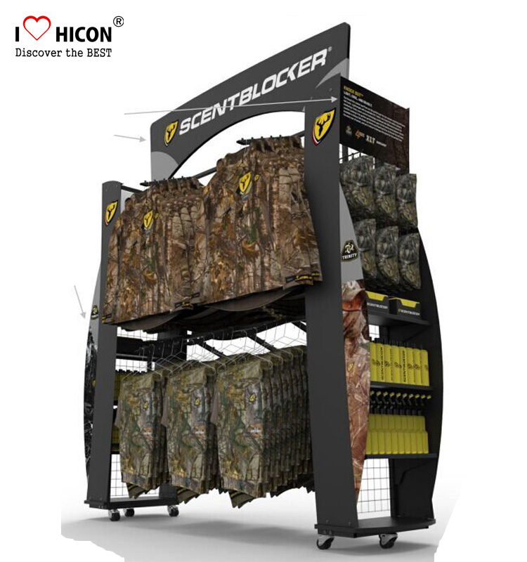 Help You Sell and Brand Merchandising Outdoor Product <strong>Display</strong> 6-Wheel Metal Garment Rack Custom 4-Way Hunting Clothing Gondola