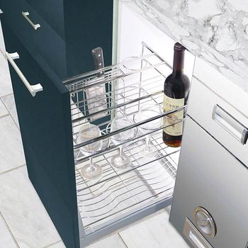 Modern pull out kitchen cabinet with storage basket
