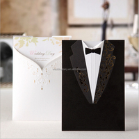High Quality Hot Stamping Bridal ang Groom Wedding Invitation Card CW2011